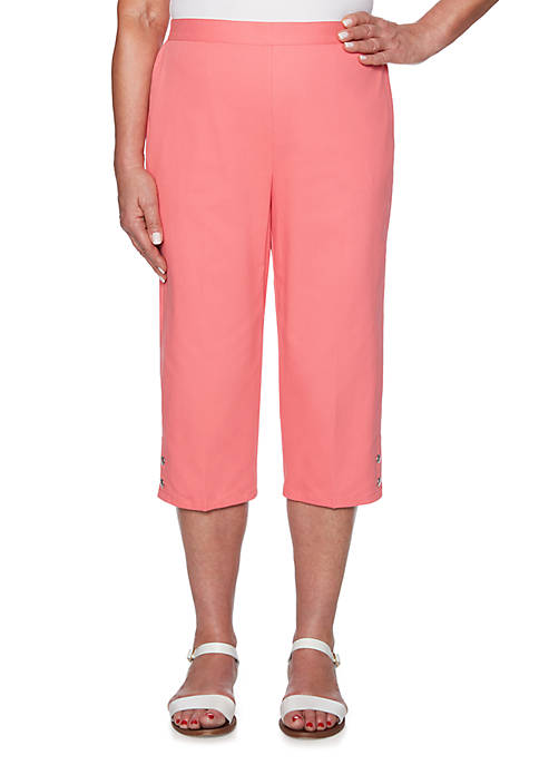 Petite Smooth Sailing Button Cuff Capris