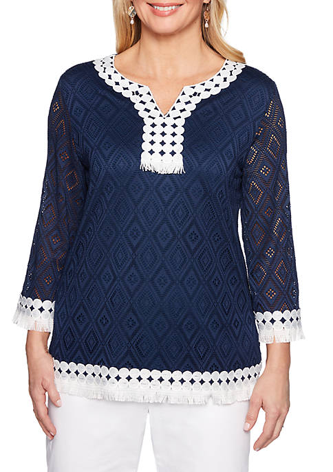 Alfred Dunner Petite Smooth Sailing Textured Knit Top