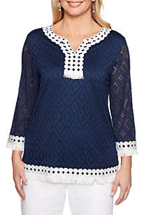 Alfred Dunner Petite Smooth Sailing Textured Knit Top with Fringe