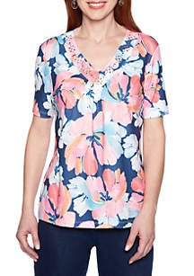Alfred Dunner Petite Short Sleeve Watercolor Floral T Shirt