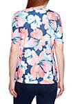 Petite Short Sleeve Watercolor Floral T Shirt