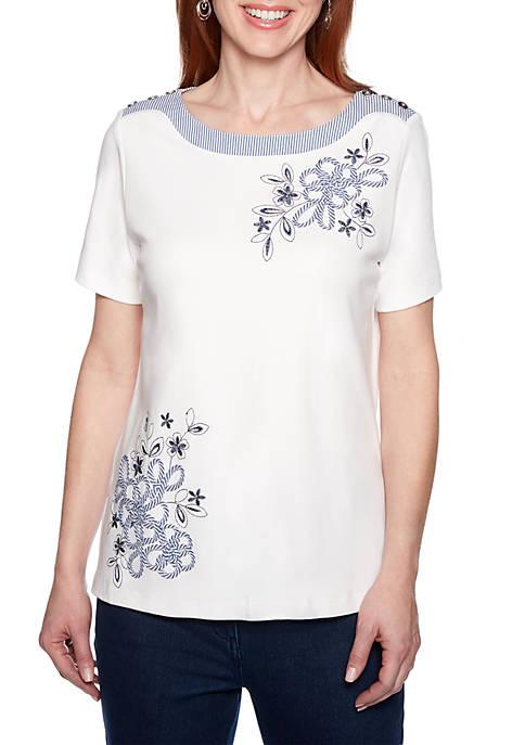 Petite Short Sleeve Soutache T Shirt