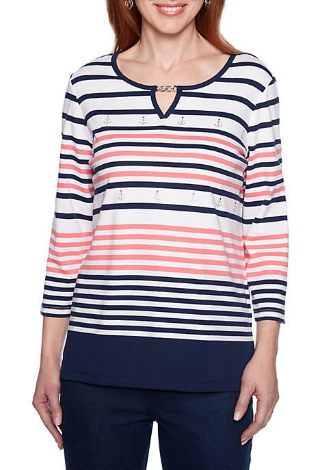 Alfred Dunner Petite Smooth Sailing Engineered Stripe T