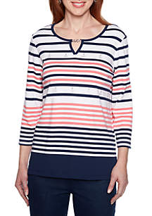 Alfred Dunner Petite Smooth Sailing Engineered Stripe T Shirt