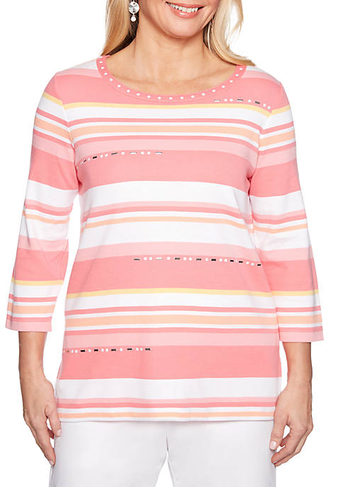 Alfred Dunner Petite Smooth Sailing Monotone Stripe Knit
