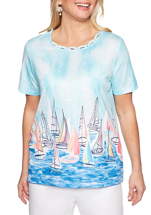 Alfred Dunner Petite Smooth Sailing Scenic Knit T