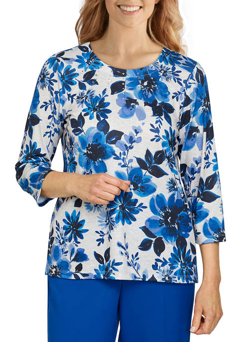 Alfred Dunner Womens Battery Park Floral Watercolor Knit