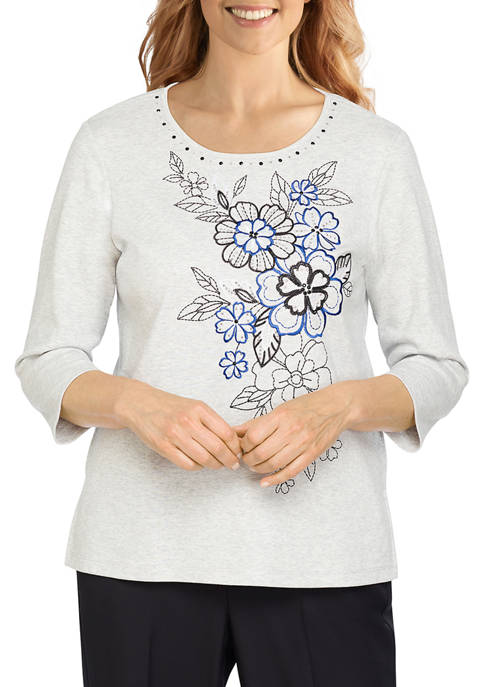 Alfred Dunner Womens Battery Park Asymmetric Floral Embroidery