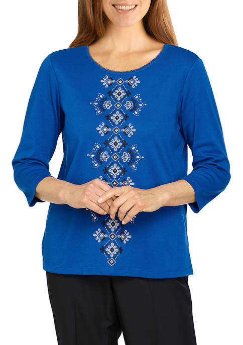 Alfred Dunner Womens Battery Park Center Embroidery Top
