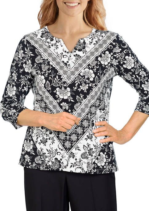 Alfred Dunner Womens Battery Park Scroll Floral Chevron