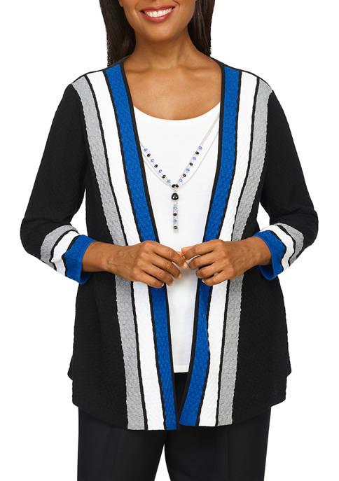 Alfred Dunner Womens Cascade Stripe 2Fer Sweater