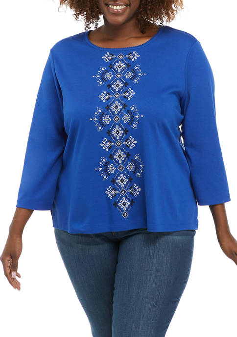 Alfred Dunner Plus Size Battery Park Center Embroidery