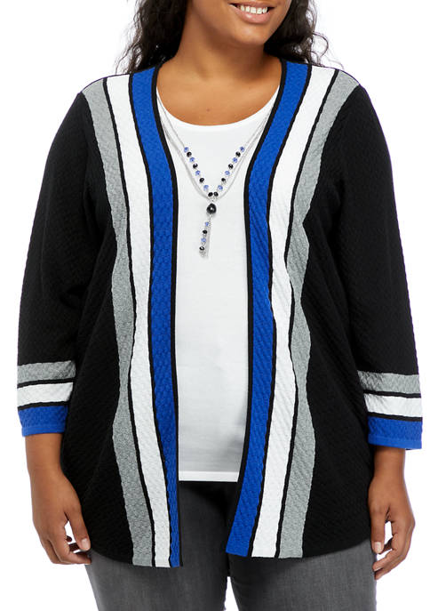 Alfred Dunner Plus Size Cascade Stripe 2-for-1 Sweater