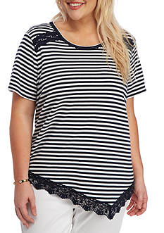 Alfred Dunner Plus-Size Indigo Girls Lace Trim Striped Top