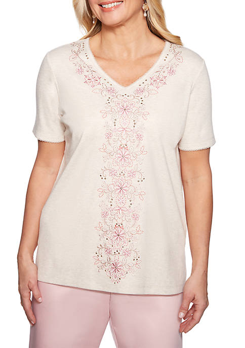 Alfred Dunner Center Embroidered Knit Top