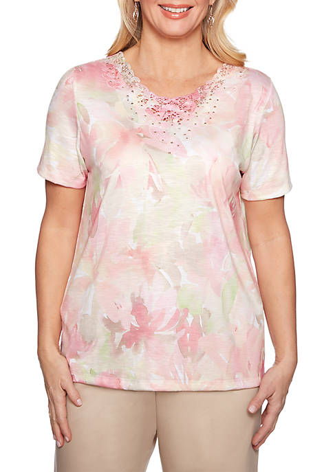 Society Page Watercolor Floral Knit Top