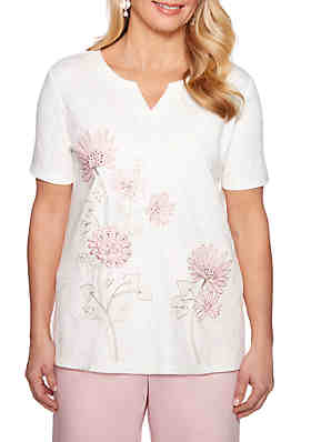 7d8d6edc6e6 Alfred Dunner Society Page Floral Embroidered Knit Top ...