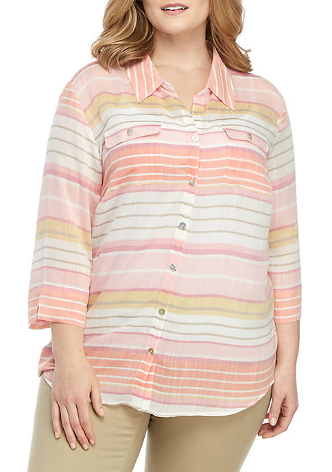 Alfred Dunner Plus Size Stripe Button Down Shirt