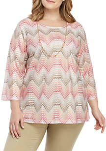 Alfred Dunner Plus Size Crochet Chevron Top with Necklace