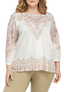 Alfred Dunner Plus Size Crochet Top with Scroll Borders