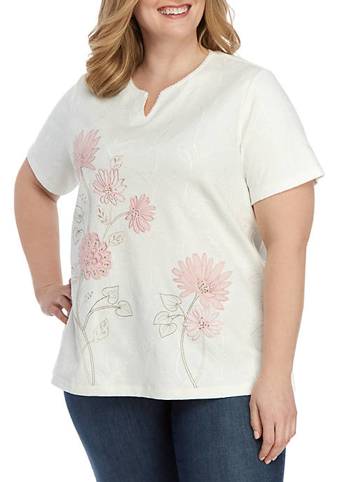 Alfred Dunner Plus Size Asymmetrical Embroidered Floral Knit