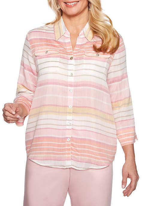 Petite Society Page Stripe Shirt