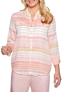 Alfred Dunner Petite Society Page Stripe Shirt
