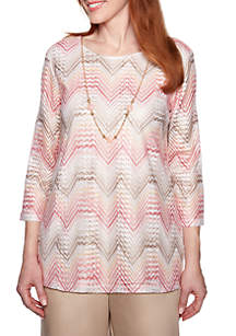 Alfred Dunner Petite Society Page Chevron Knit Top with Necklace