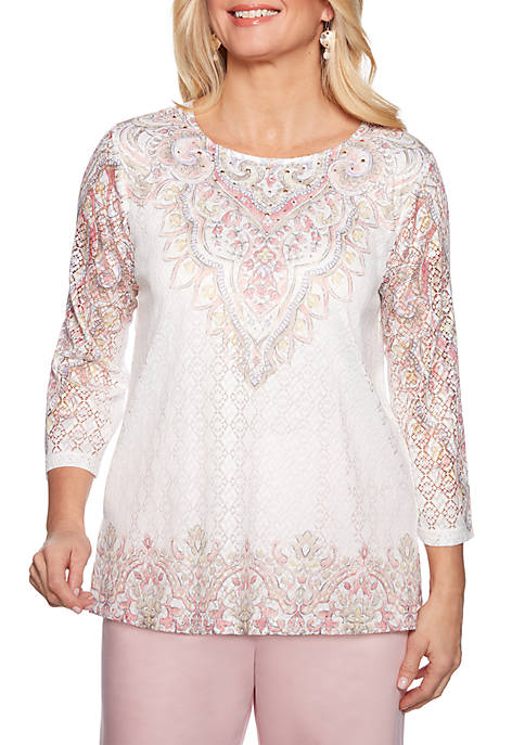 Petite Society Page Scroll Border Knit Top