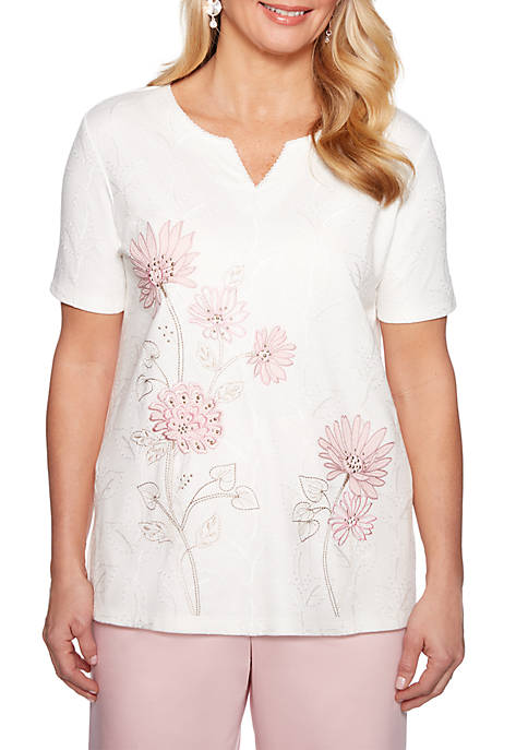 Alfred Dunner Petite Society Page Floral Embroidered Knit