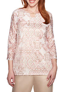 Alfred Dunner Petite Society Page Medallion Lace Knit Top