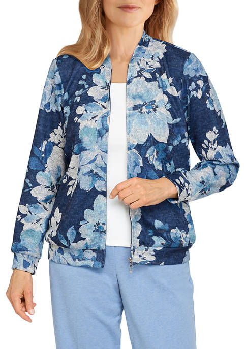 Alfred Dunner Womens Relax & Enjoy Floral Print