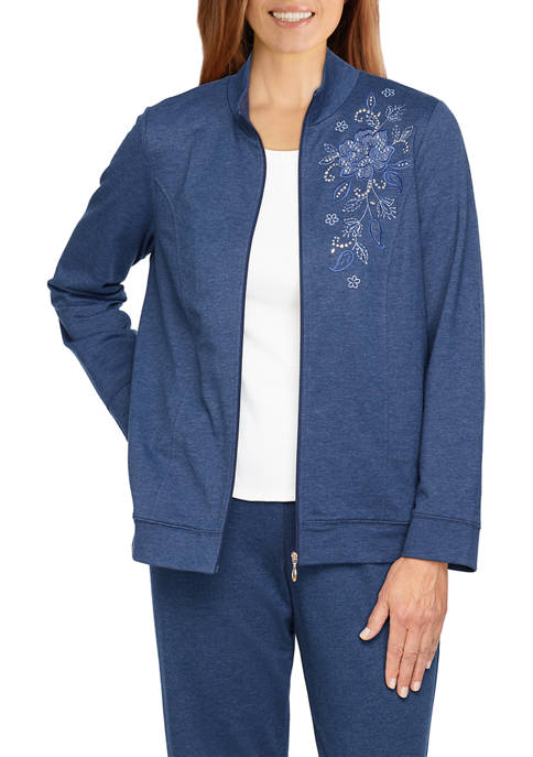 Alfred Dunner Womens Relax & Enjoy Embroidered Jacket