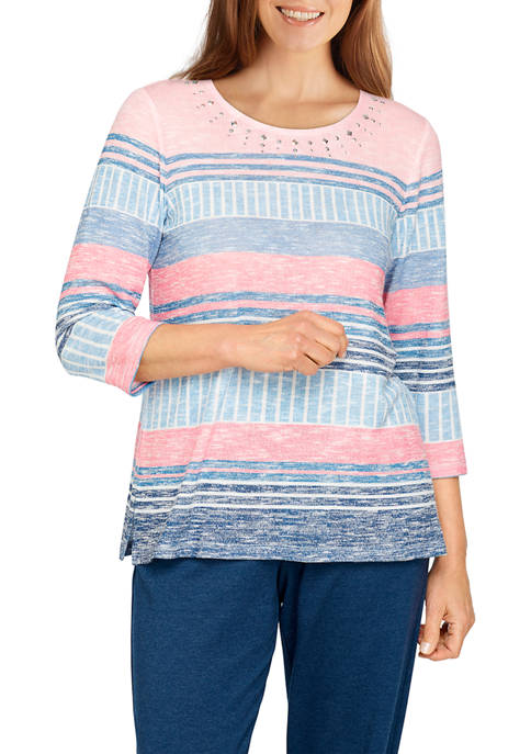 Alfred Dunner Womens Blocked Stripe Top