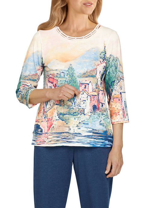 Alfred Dunner Womens Relax & Enjoy Scenic Knit