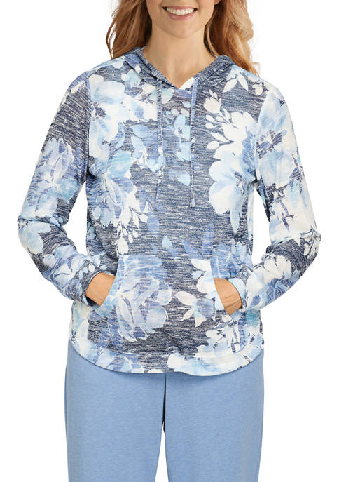 Alfred Dunner Womens Relax & Enjoy Floral Hoodie