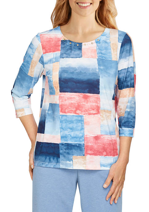 Alfred Dunner Womens Relax & Enjoy Patchwork Watercolor