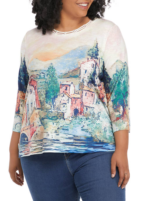 Alfred Dunner Plus Size Relax & Enjoy Scenic