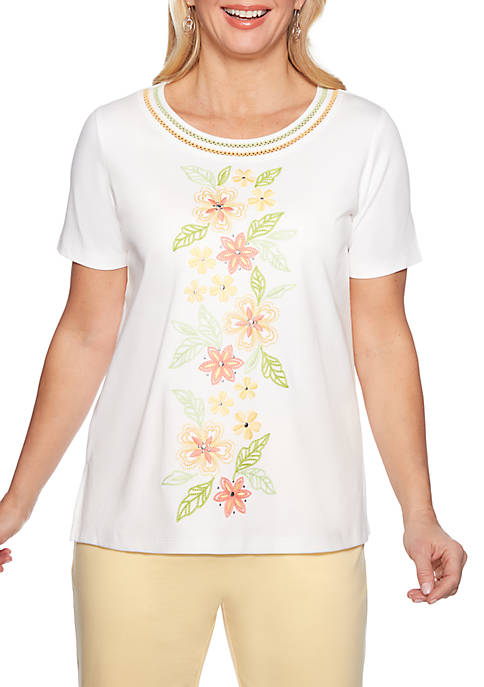 Alfred Dunner Endless Weekend Floral Embroidered Knit Top