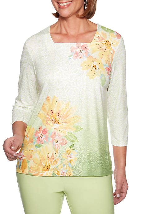 Alfred Dunner Endless Weekend Floral Watercolor Top