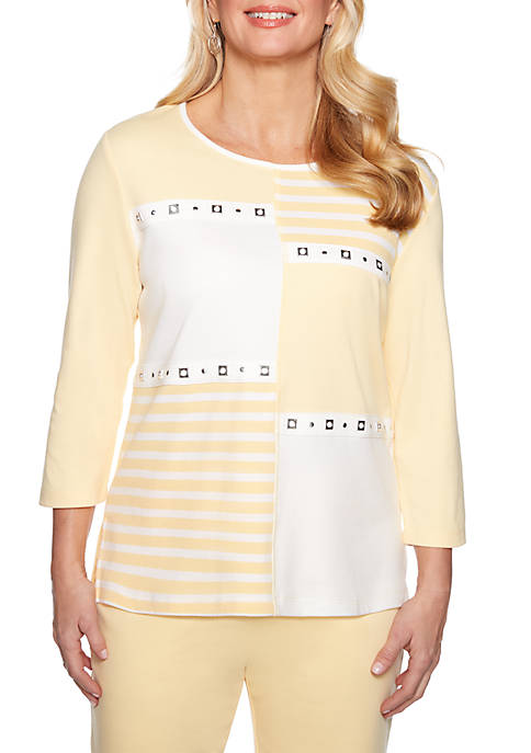 Alfred Dunner Endless Weekend Stripe Color Block Knit