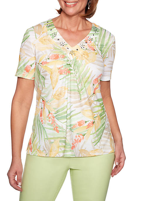 Alfred Dunner Endless Weekend Tropical Leaves Knit Top