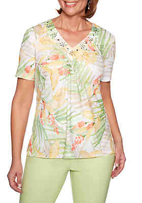 4e6e98ff3706a Alfred Dunner Endless Weekend Tropical Leaves Knit Top ...