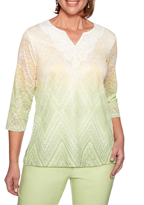 Alfred Dunner Endless Weekend Ombre Diamond Knit Top