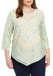 Alfred Dunner Plus Size Chevron Mesh Knit Top