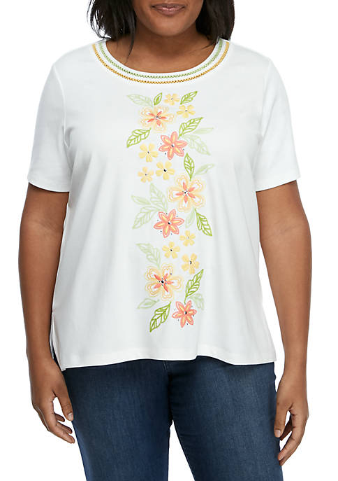 Alfred Dunner Plus Size Short Sleeve Embroidered Knit