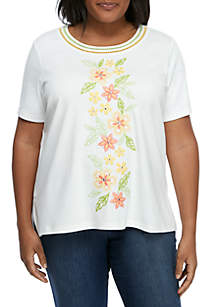 20e8be7575 ... Alfred Dunner Plus Size Short Sleeve Embroidered Knit T Shirt