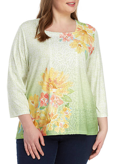 Alfred Dunner Plus Size Endless Weekend Watercolor Top