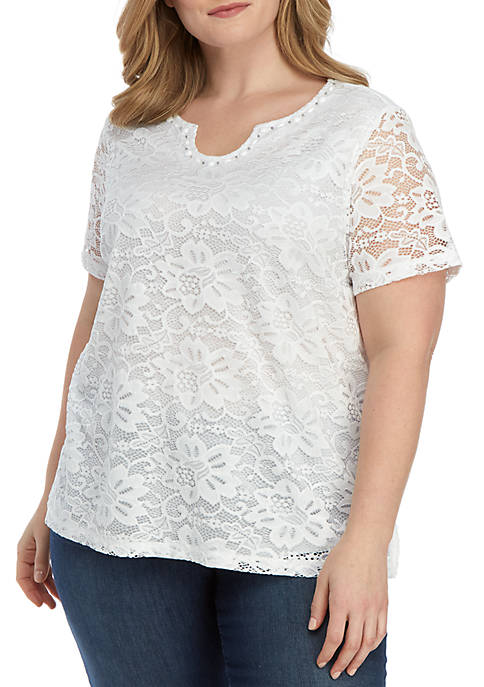 Alfred Dunner Plus Size Endless Weekend Lace Knit