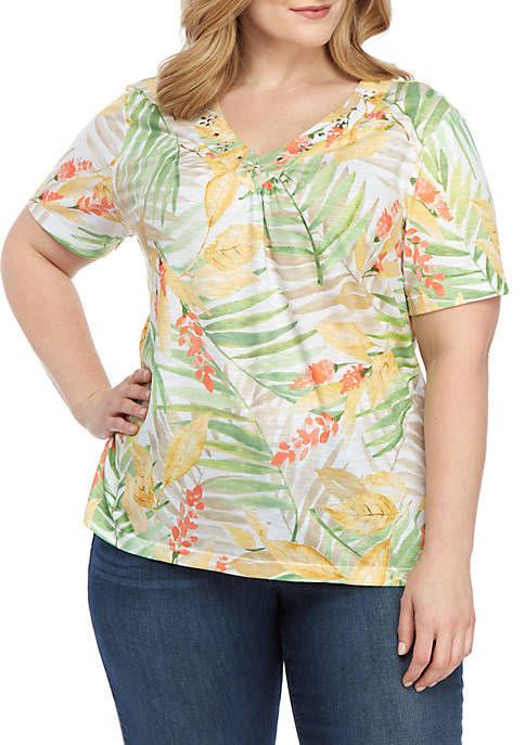 Alfred Dunner Plus Size Tropical Knit T Shirt